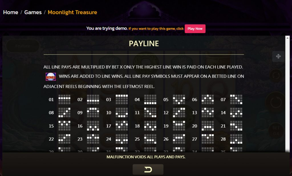 Moonlight Treasure Payline