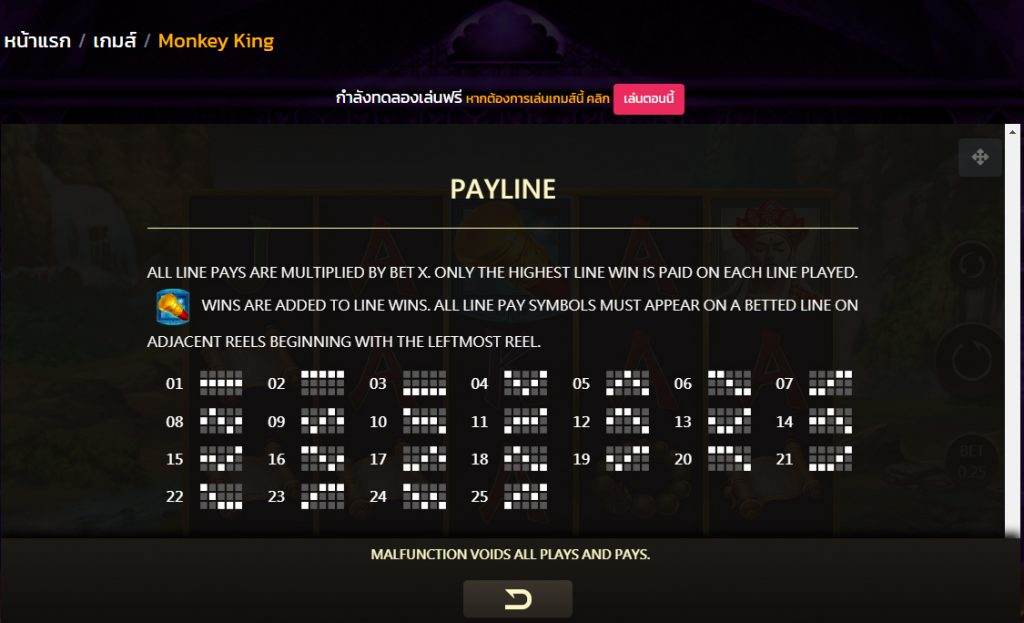 Monkey King Slot Payline
